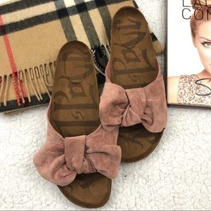 Mad Love Faux Suede Dusty Pink Bow Mules/ Sandals